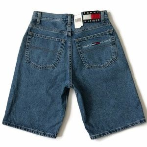 Tommy Hilfiger Shorts - Tommy Hilfiger Jean Shorts Spell Out Box Flag Logo